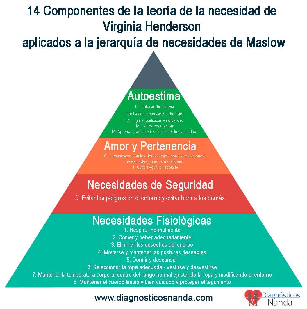 Los 14 componentes de Henderson aplicados a la jerarquía de necesidades de Maslow